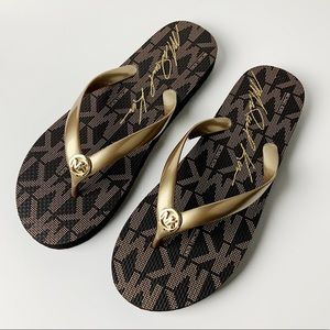 New Black Gold Michael Kors Flip Flops